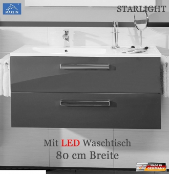 marlin starlight led waschtischunterschrank set 80 cm mit 2 ausz gen impuls home. Black Bedroom Furniture Sets. Home Design Ideas