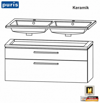 Puris Cool Line Doppel-Waschtisch-Set 120 cm - Keramik - LED optional