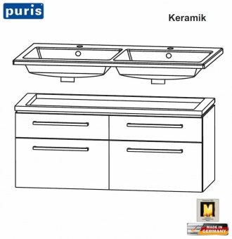 Puris Cool Line Doppel-Waschtisch-Set 120 cm - 4 Auszüge - Keramik - LED optional