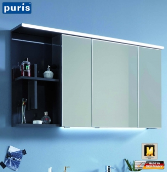 Puris Purefaction LED Spiegelschrank mt Regalkreuz links - SET42121L