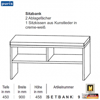 puris star line sitzbank 90 cm setbank9 impuls home. Black Bedroom Furniture Sets. Home Design Ideas