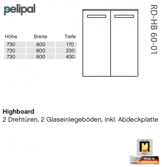 Pelipal Solitaire 7005 Highboard 73 cm - RD-HB 60-01