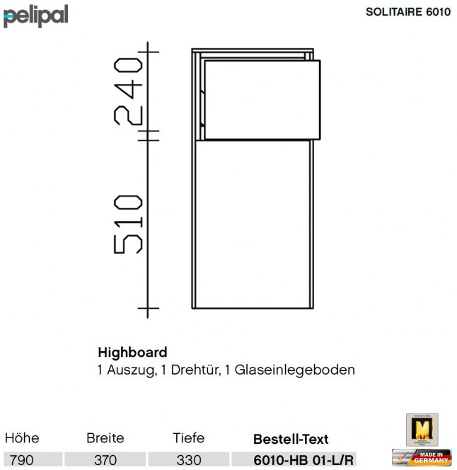 pelipal solitaire 6010 highboard 1 t r und 1 auszug. Black Bedroom Furniture Sets. Home Design Ideas