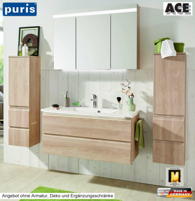 puris ace badm bel set 102 cm mit led spiegelschrank v2 2 impuls home. Black Bedroom Furniture Sets. Home Design Ideas
