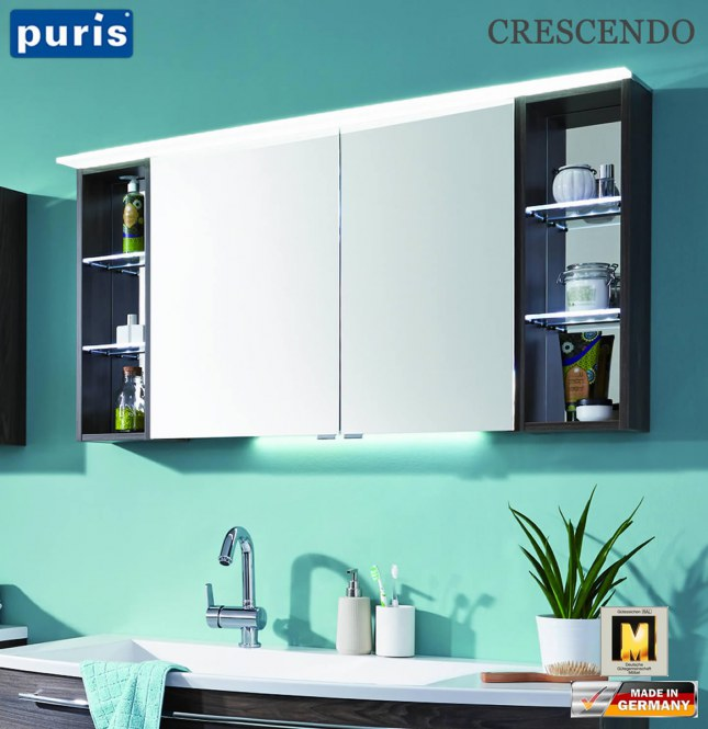 puris crescendo spiegelschrank 140 cm mit led. Black Bedroom Furniture Sets. Home Design Ideas