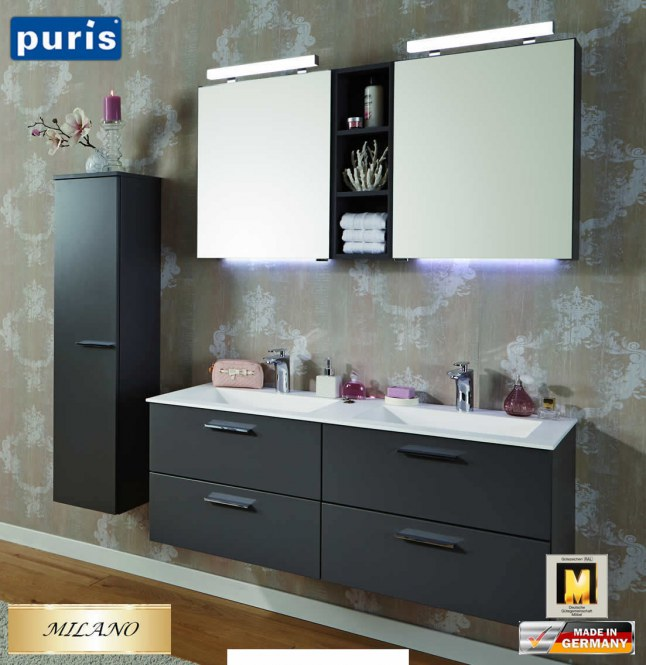 puris milano badm bel set 120 cm fb02 doppelwaschtisch und led spiegelschrank impuls home. Black Bedroom Furniture Sets. Home Design Ideas