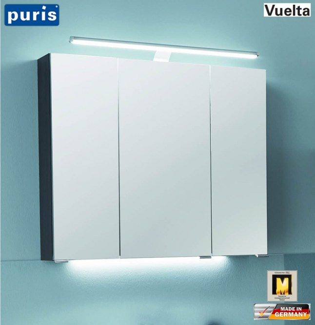 puris vuelta spiegelschrank 70 cm mit led aufsatzleuchte. Black Bedroom Furniture Sets. Home Design Ideas