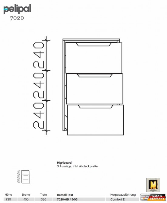 pelipal solitaire 7020 highboard 45 cm breite mit 3. Black Bedroom Furniture Sets. Home Design Ideas