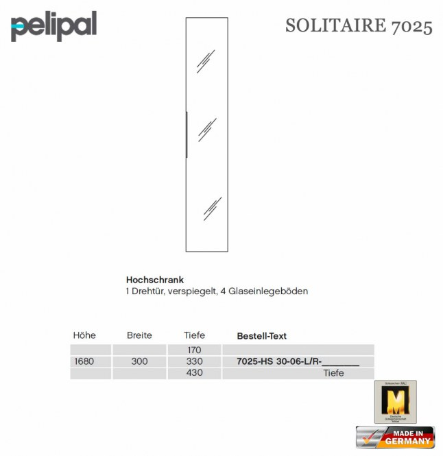 pelipal solitaire 7025 hochschrank 168 cm mit spiegelt r 7025 hs 30 06 impuls home. Black Bedroom Furniture Sets. Home Design Ideas