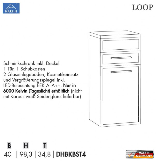 marlin loop schminkschrank 40 cm mit led im deckel 1 t r 1 auszug dhbkbst4 impuls home. Black Bedroom Furniture Sets. Home Design Ideas