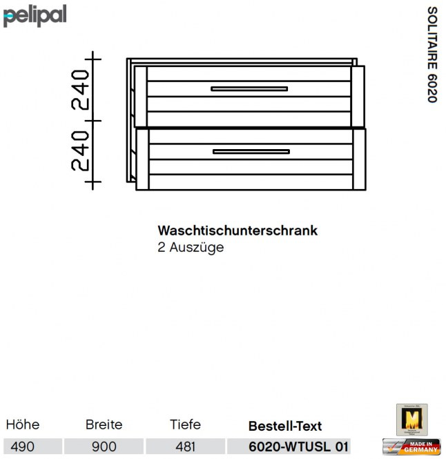pelipal solitaire 6020 waschtisch set mit 97 cm keramik. Black Bedroom Furniture Sets. Home Design Ideas