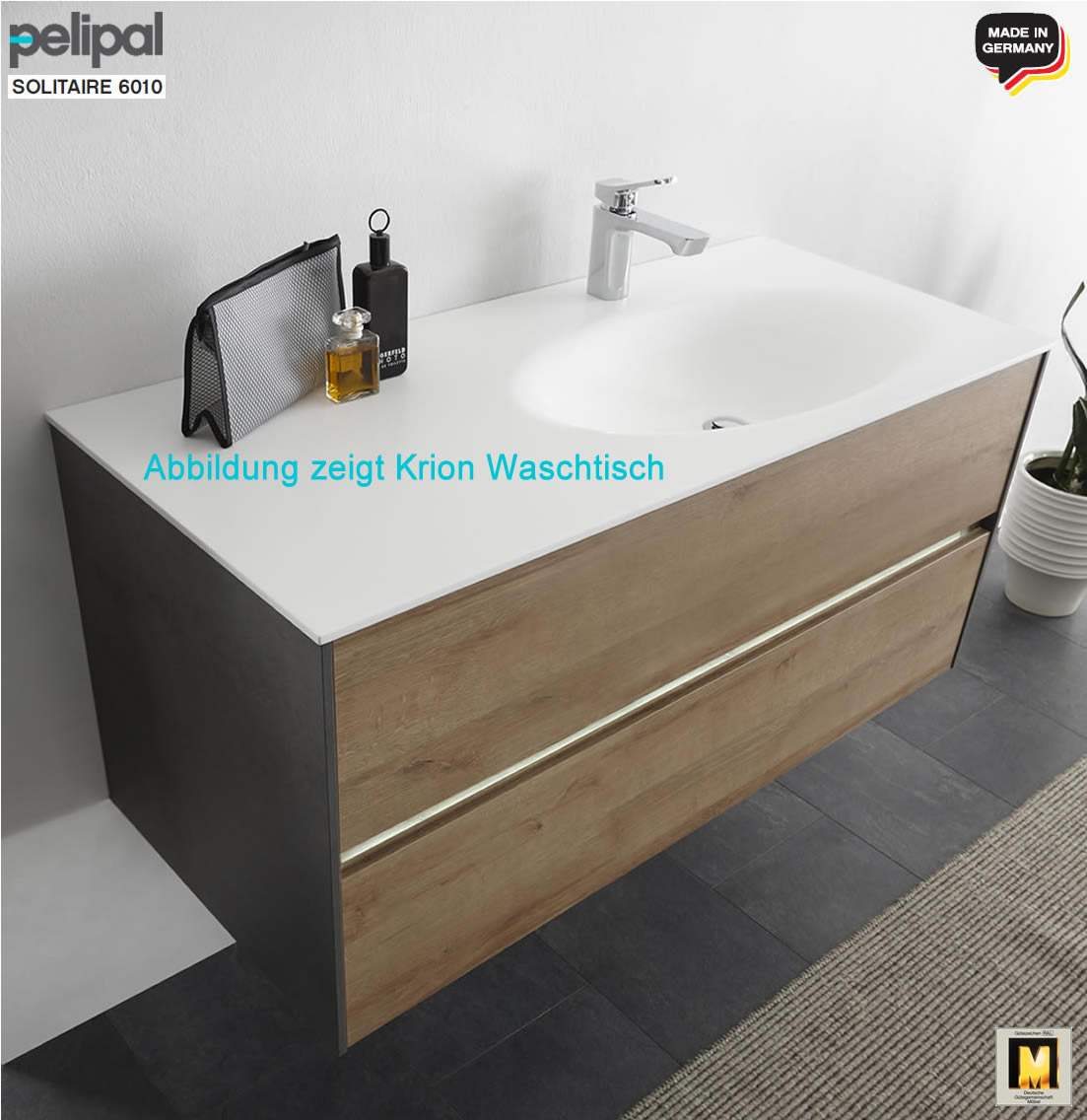 pelipal solitaire 6010 waschtisch set mit 113 cm waschtisch r w hlbar und unterschrank led. Black Bedroom Furniture Sets. Home Design Ideas