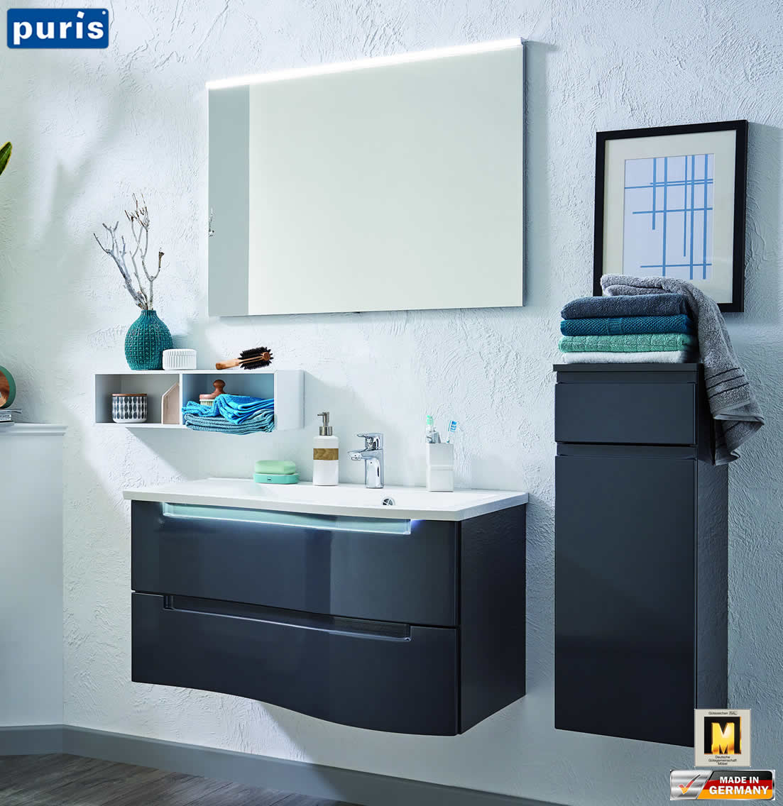 puris purefaction badm bel set 90 cm ablage links 2 ausz ge spiegelpaneel impuls home. Black Bedroom Furniture Sets. Home Design Ideas