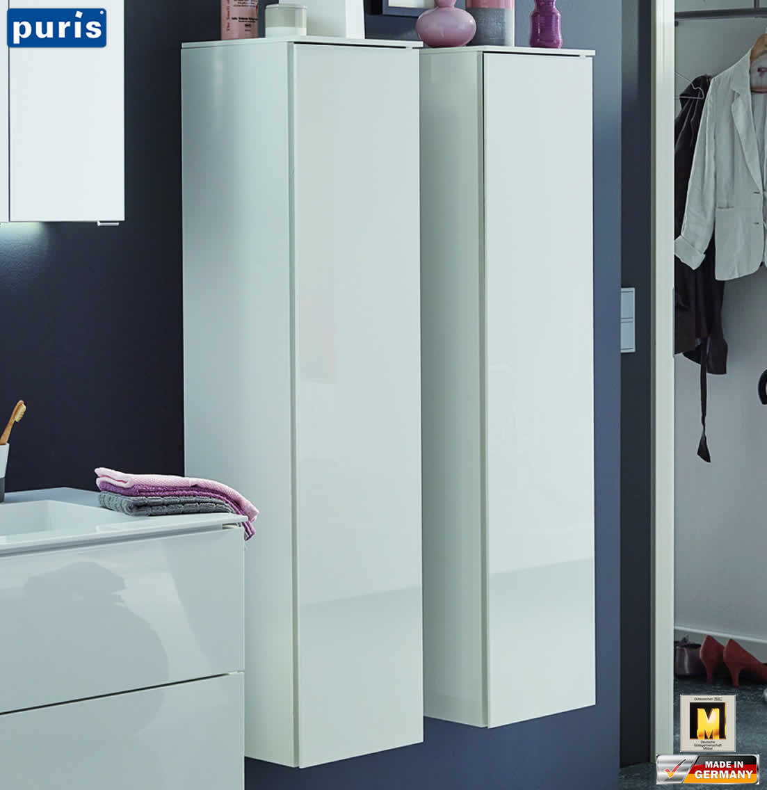 puris slim line mittelschrank 30 cm breite 1 t r impuls home. Black Bedroom Furniture Sets. Home Design Ideas