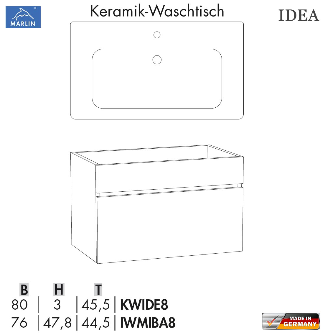 marlin idea waschtisch set mit 80 cm keramik waschtisch unterschrank v1 1 impuls home. Black Bedroom Furniture Sets. Home Design Ideas