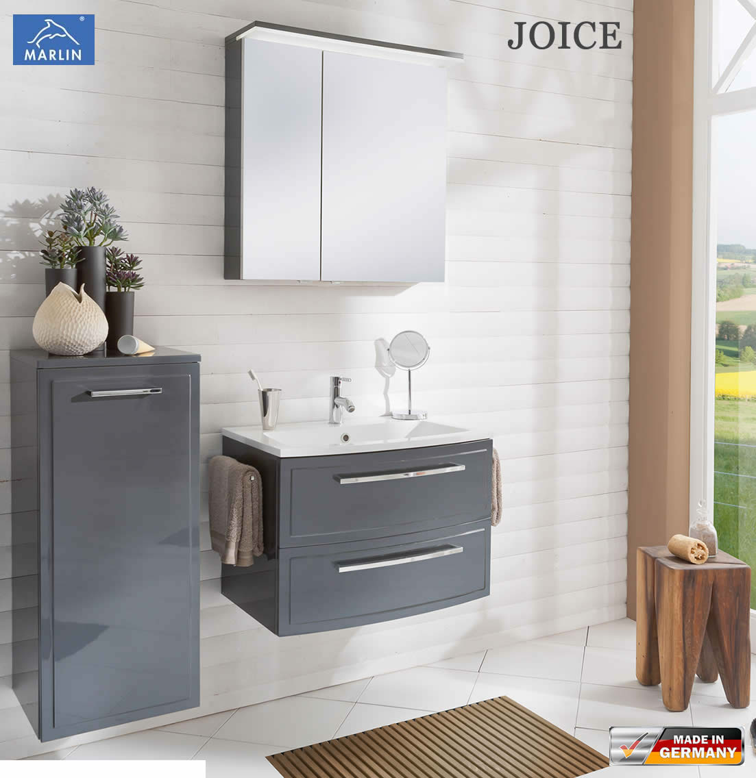marlin joice badm bel set 70 cm mit led spiegelschrank rahmenoptik v1 1 impuls home. Black Bedroom Furniture Sets. Home Design Ideas