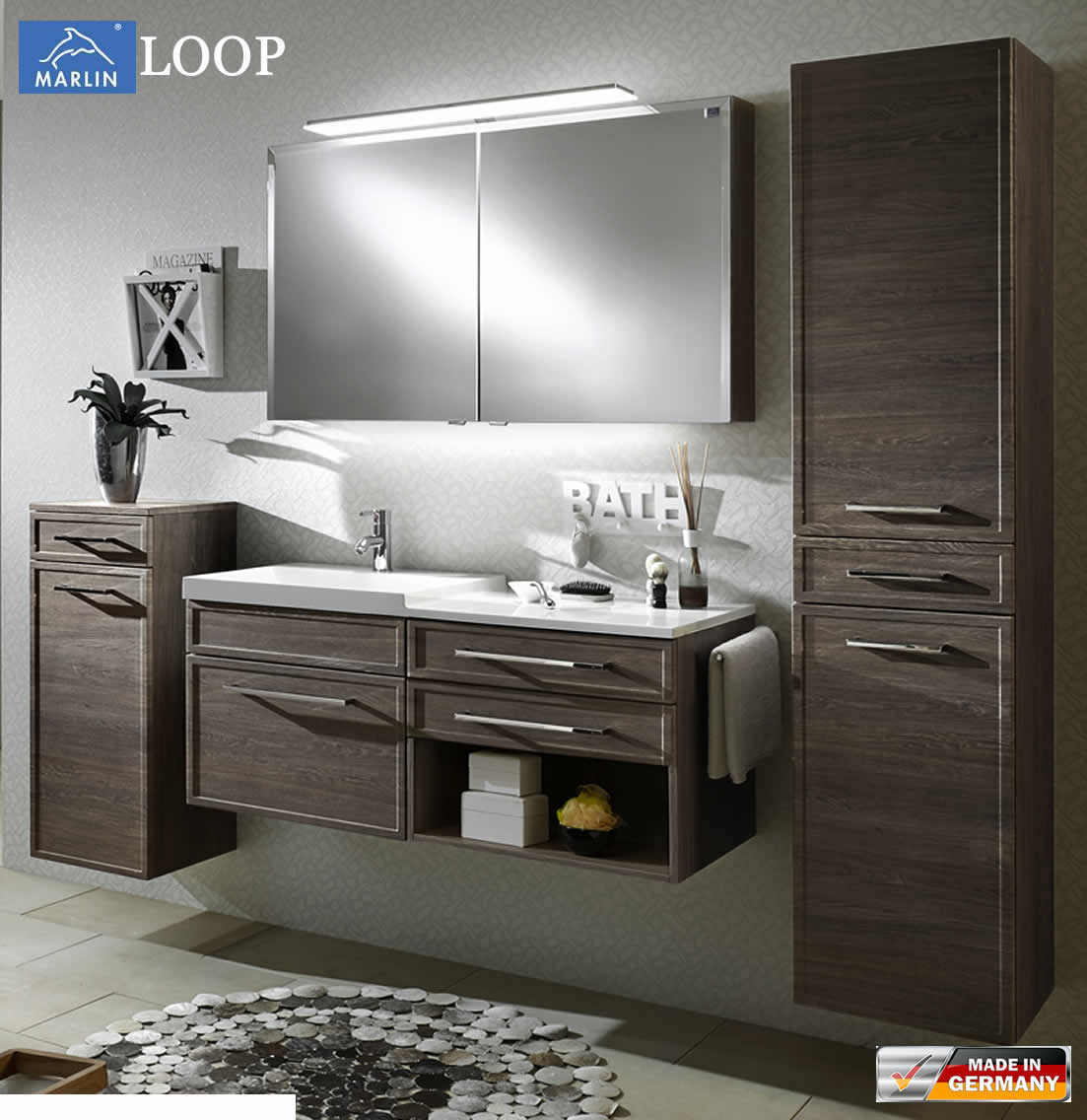 marlin loop badm bel set 120 cm mit led spiegelschrank rahmenoptik v2 1 impuls home. Black Bedroom Furniture Sets. Home Design Ideas