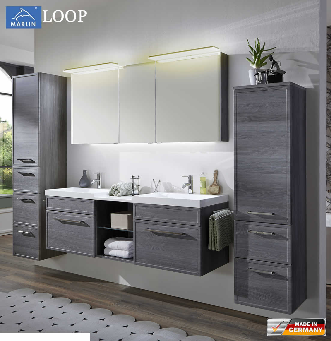 marlin loop badm bel set 160 cm mit led spiegelschrank. Black Bedroom Furniture Sets. Home Design Ideas