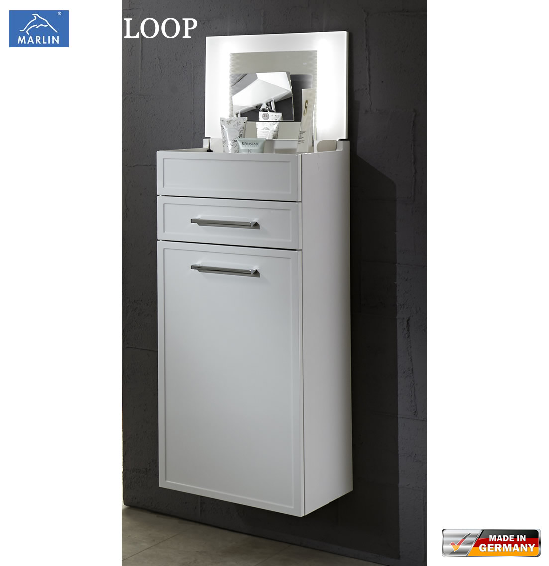 marlin loop schminkschrank 40 cm mit led im deckel 1 t r. Black Bedroom Furniture Sets. Home Design Ideas