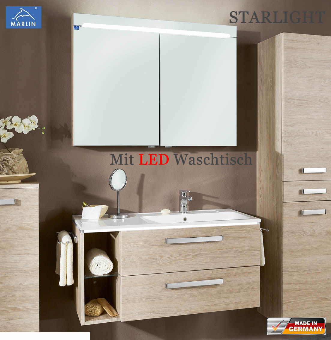 marlin starlight badm bel set 100 cm mit led waschtisch aus mineralmarmor v3 2 impuls home. Black Bedroom Furniture Sets. Home Design Ideas