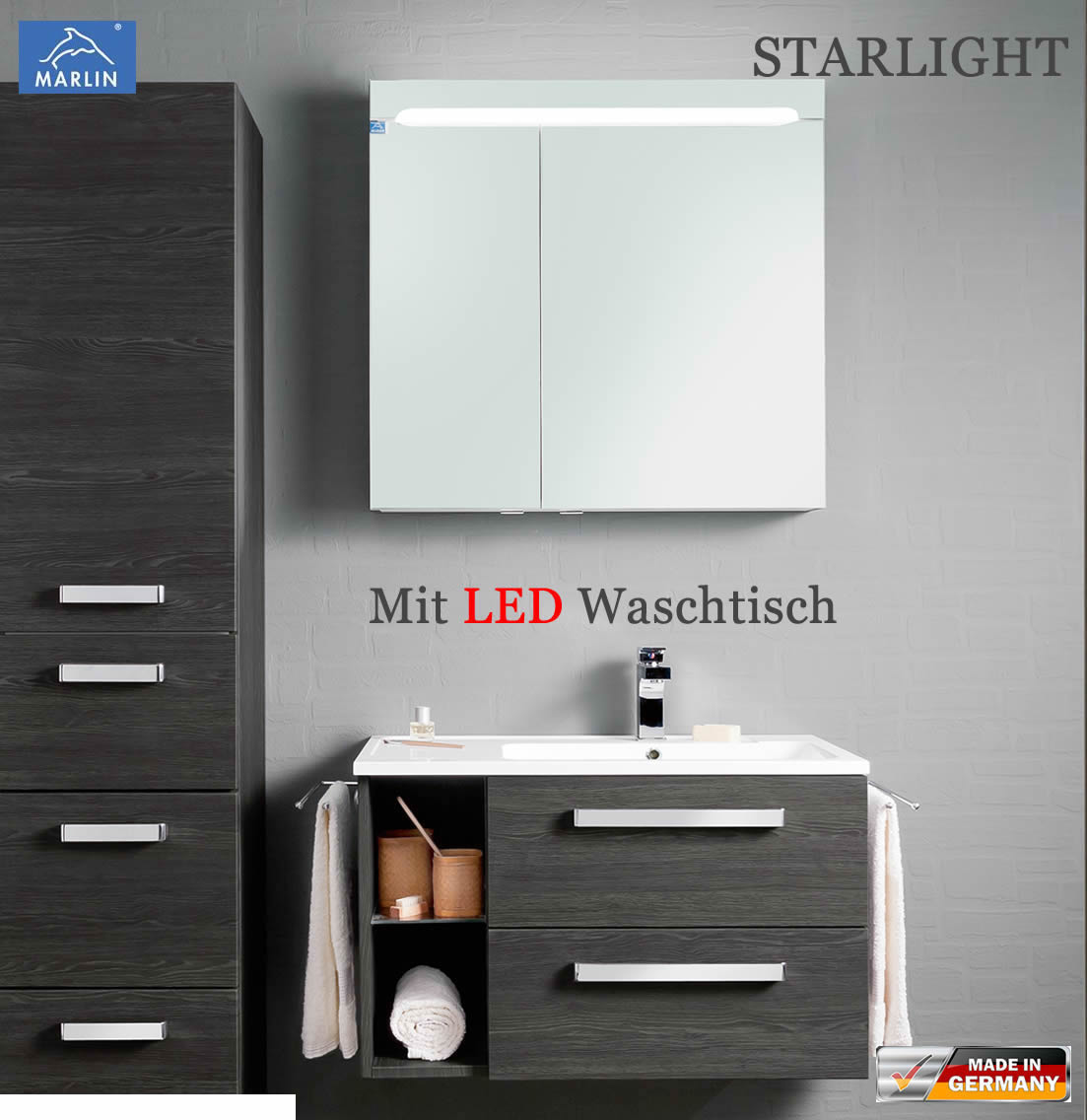 marlin starlight badm bel set 80 cm mit led waschtisch aus mineralmarmor v2 2 impuls home. Black Bedroom Furniture Sets. Home Design Ideas