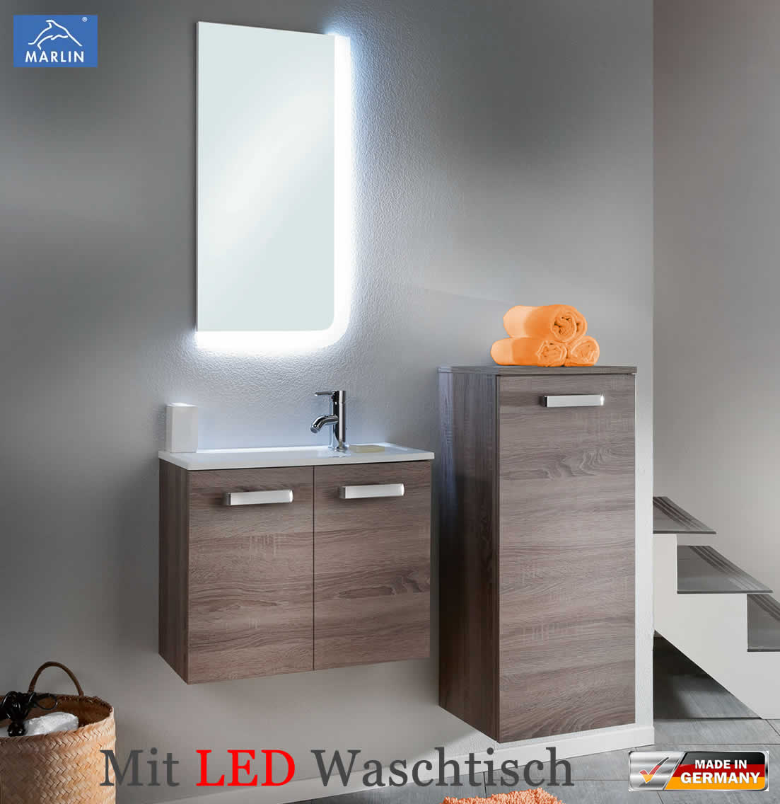 marlin starlight badm bel set 60 cm mit led waschtisch aus mineralmarmor v1 4 g stebad. Black Bedroom Furniture Sets. Home Design Ideas