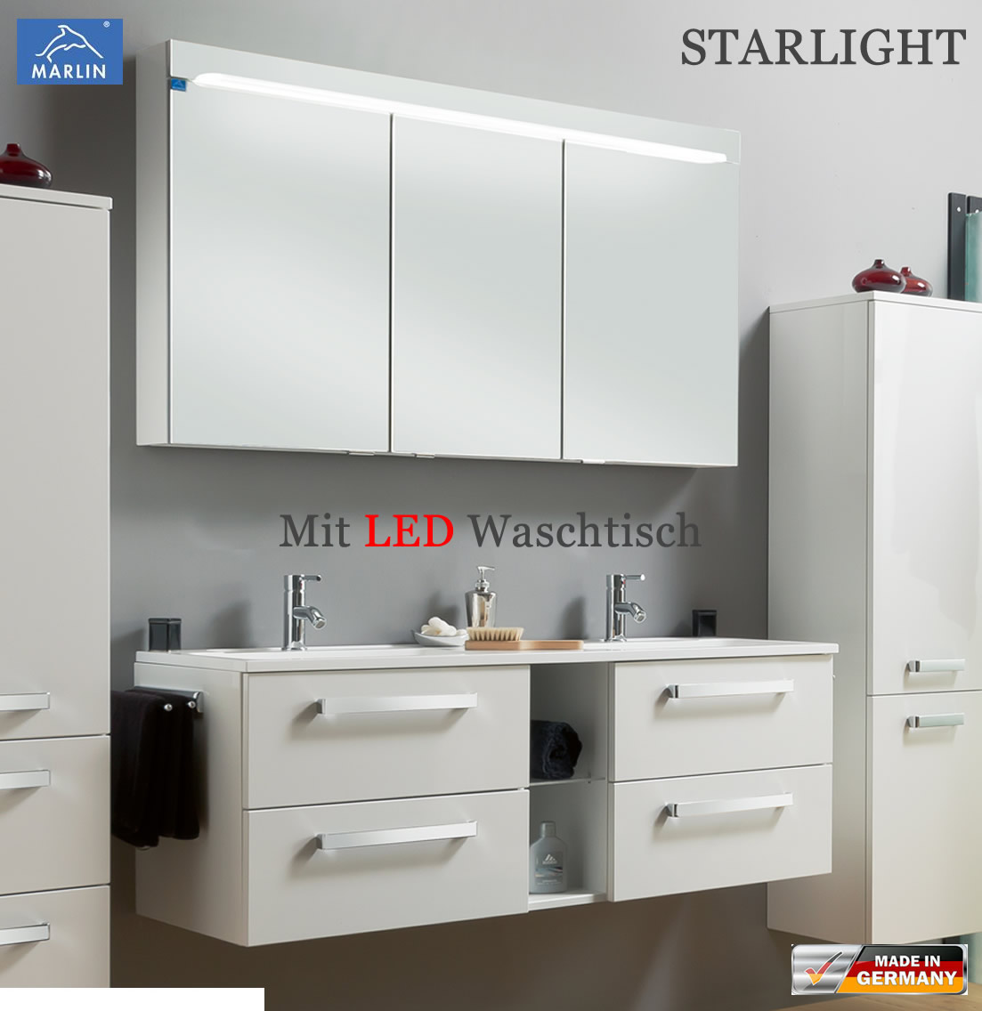 marlin starlight badm bel set 140 cm mit led doppelwaschtisch v4 2 impuls home. Black Bedroom Furniture Sets. Home Design Ideas