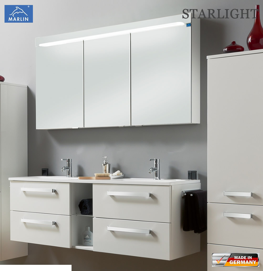 marlin starlight badm bel set 140 cm mit doppelwaschtisch. Black Bedroom Furniture Sets. Home Design Ideas