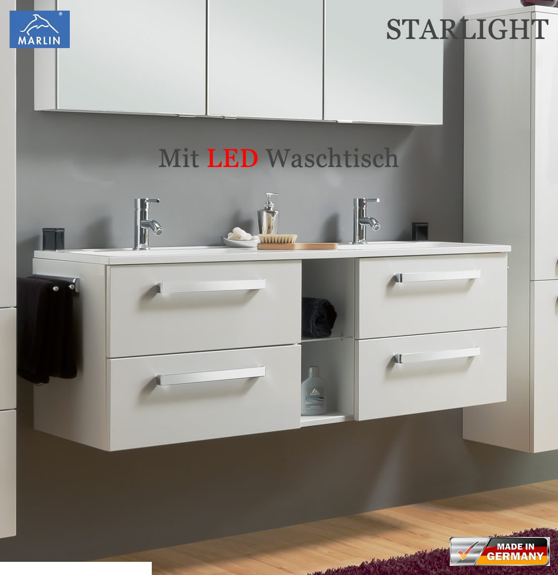 Marlin starlight led waschtischunterschrank set 140 cm for Waschtischunterschrank 140
