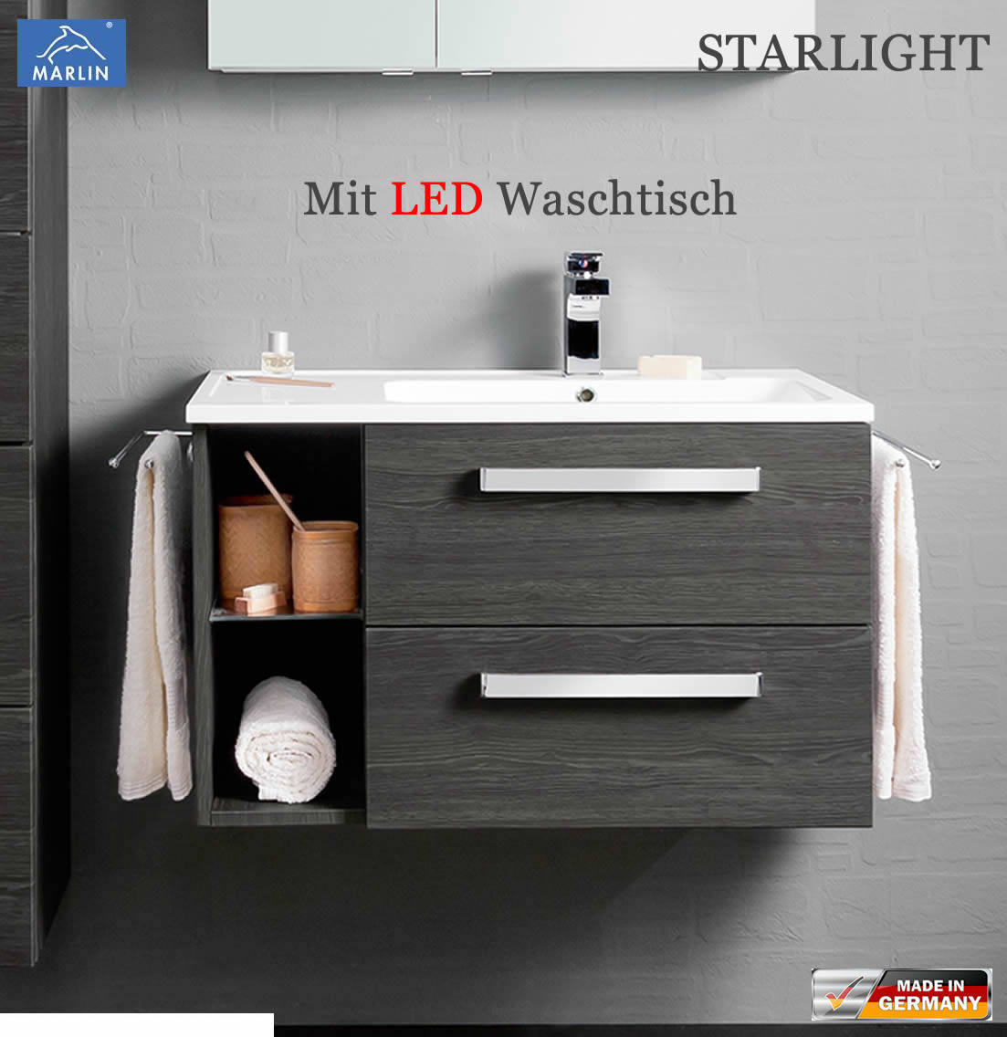 marlin starlight led waschtischunterschrank set 80 cm impuls home. Black Bedroom Furniture Sets. Home Design Ideas