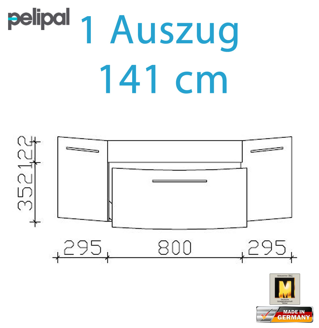 pelipal cassca waschtischunterschrank set 141 cm 1 auszug impuls home. Black Bedroom Furniture Sets. Home Design Ideas