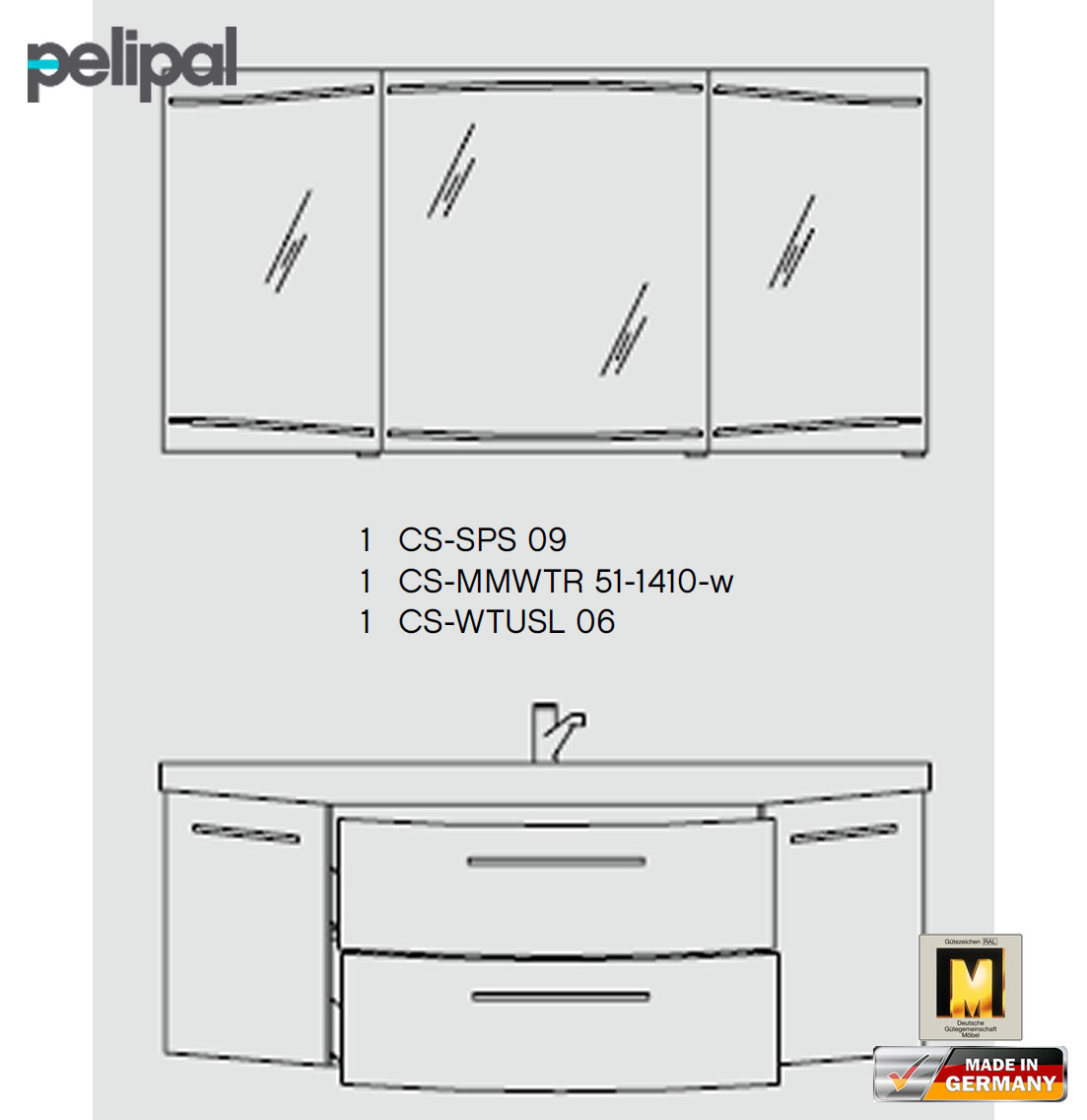 pelipal cassca badm bel set 140 cm v3 3 impuls home. Black Bedroom Furniture Sets. Home Design Ideas