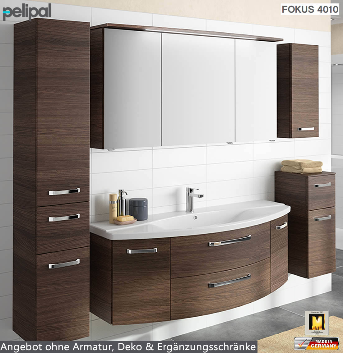 pelipal fokus 4010 badm bel set 3tlg 144 cm mit keramik. Black Bedroom Furniture Sets. Home Design Ideas