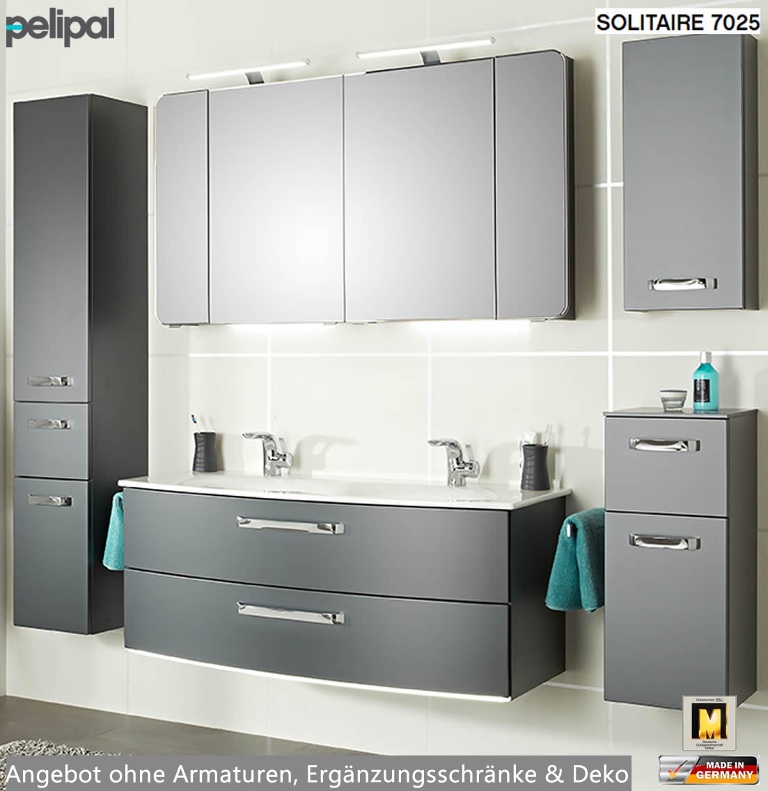 pelipal solitaire 7025 badm bel set mit 1220 mm doppelwaschtisch v4 8 2 ausz ge impuls home. Black Bedroom Furniture Sets. Home Design Ideas