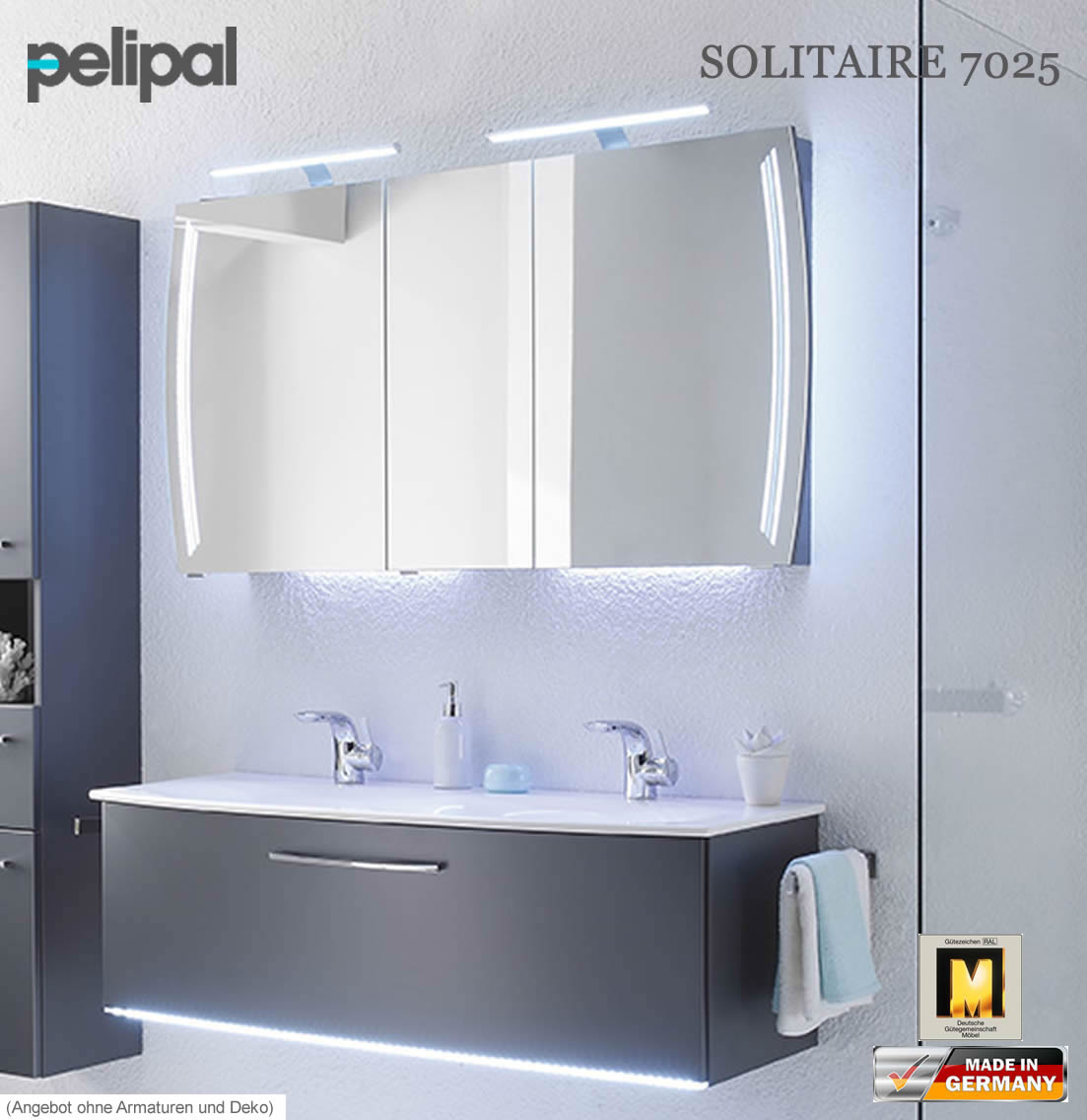 pelipal solitaire 7025 badm bel set mit 1220 mm doppelwaschtisch v3 8 impuls home. Black Bedroom Furniture Sets. Home Design Ideas