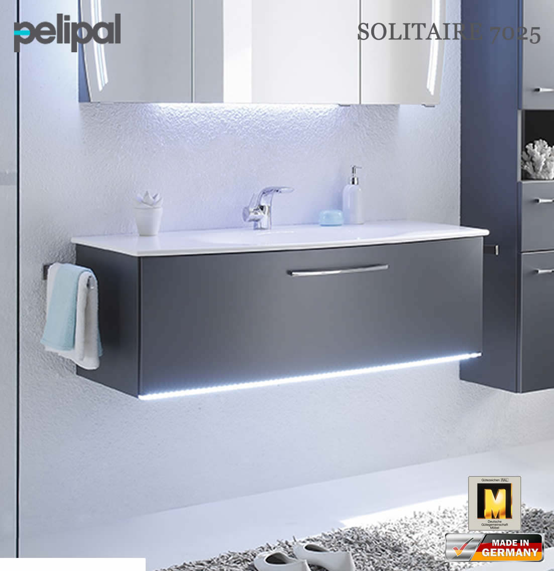 pelipal solitaire 7025 led waschtischunterschrank set mit 1220 mm waschtisch 7025 wtusl 04. Black Bedroom Furniture Sets. Home Design Ideas