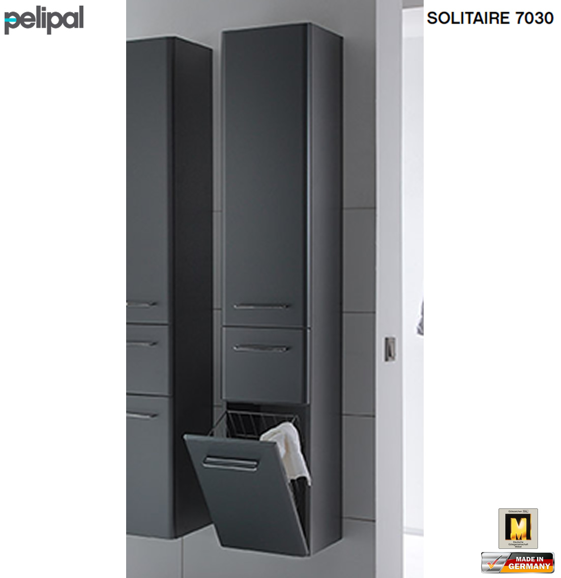 pelipal solitaire 7030 hochschrank 30 cm breite mit w schekippe 1 t r 1 auszug impuls home. Black Bedroom Furniture Sets. Home Design Ideas