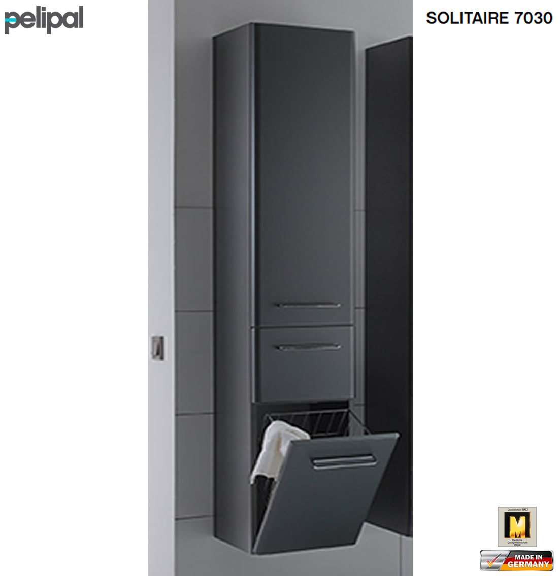 pelipal solitaire 7030 hochschrank 45 cm breite mit w schekippe 1 t r 1 auszug impuls home. Black Bedroom Furniture Sets. Home Design Ideas