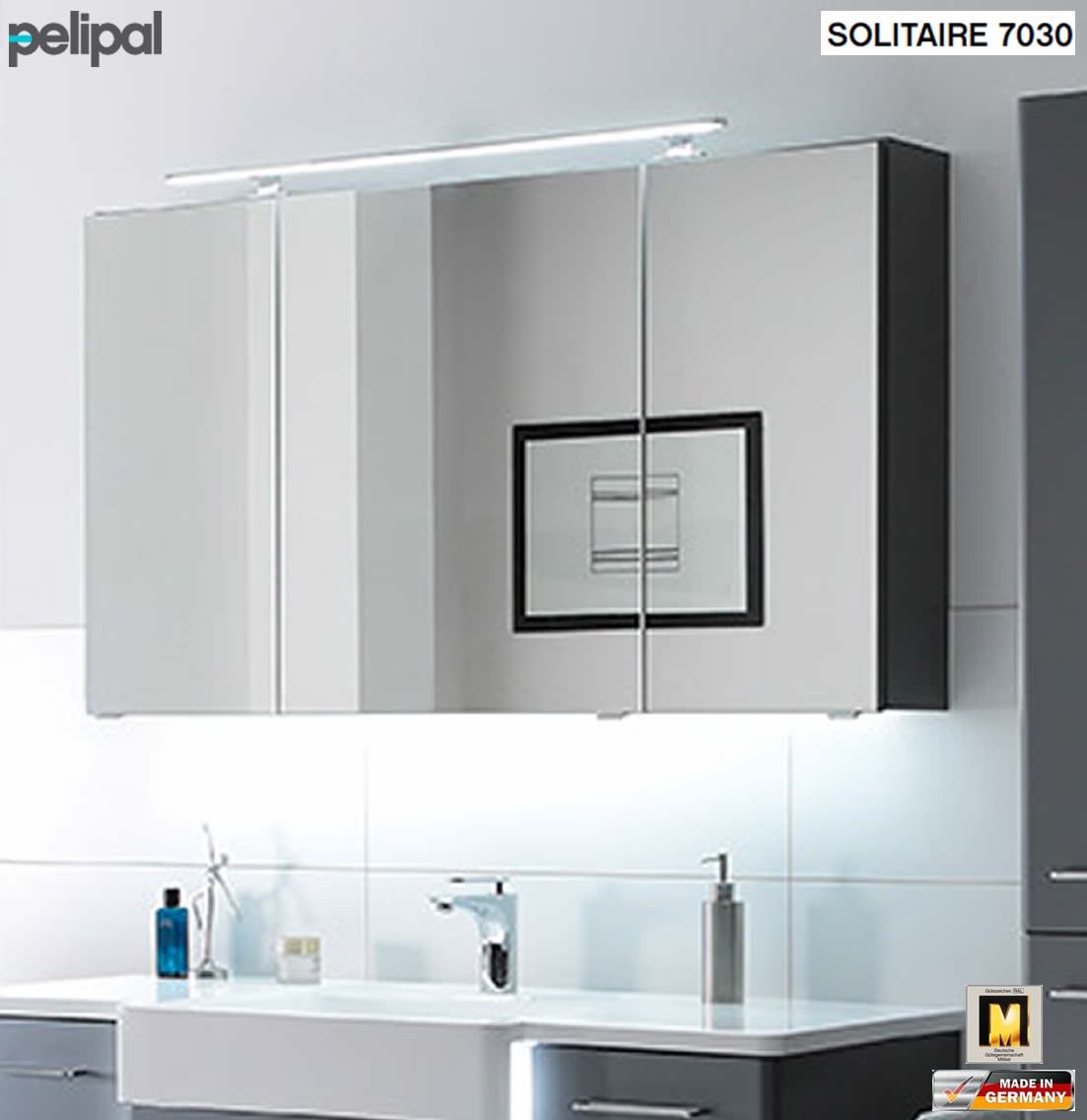 pelipal solitaire 7030 spiegelschrank 130 cm mit led. Black Bedroom Furniture Sets. Home Design Ideas