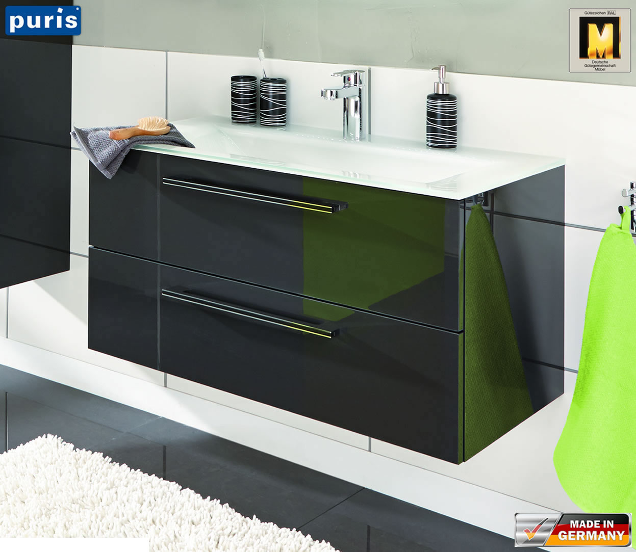 puris brillant waschtisch set 90 cm wua3390e9 wms950921 impuls home. Black Bedroom Furniture Sets. Home Design Ideas