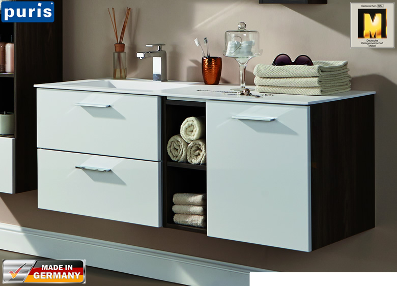 puris milano waschtisch set 120 cm wua3312rr wms222r61. Black Bedroom Furniture Sets. Home Design Ideas