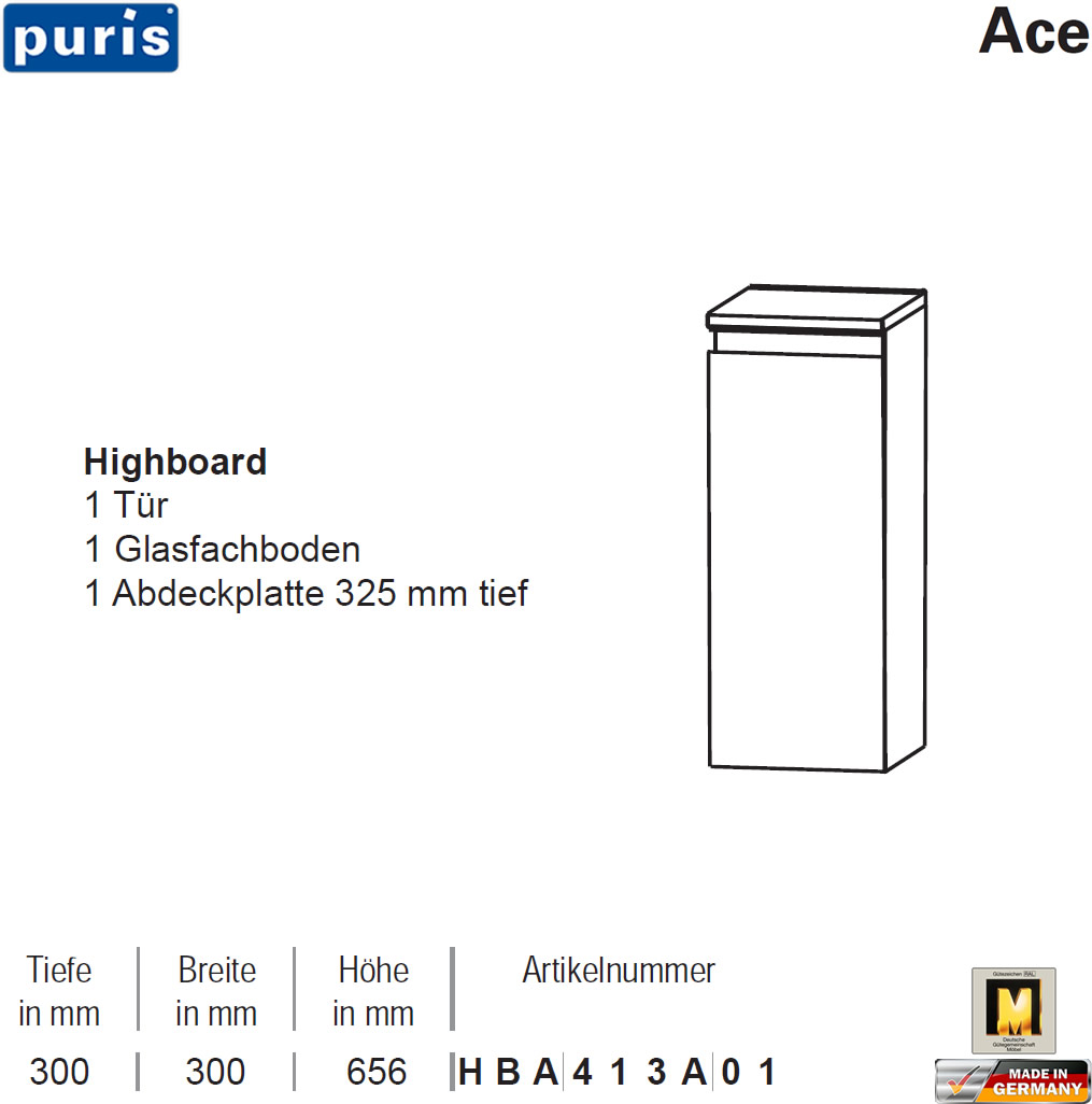 puris ace highboard 30 cm breite 1 t r hba413a01 impuls home. Black Bedroom Furniture Sets. Home Design Ideas