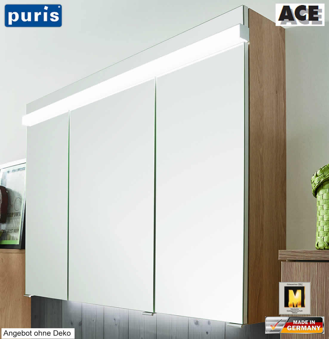 puris ace spiegelschrank 100 cm mit led beleuchtung. Black Bedroom Furniture Sets. Home Design Ideas