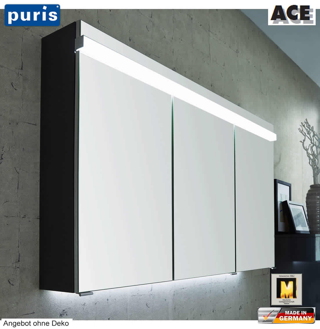 puris ace spiegelschrank 120 cm mit led beleuchtung. Black Bedroom Furniture Sets. Home Design Ideas