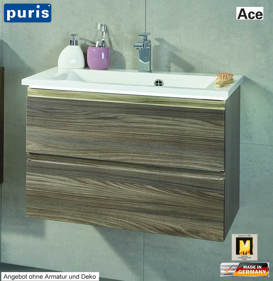 Puris ace waschtisch set 72 cm optional mit led impuls for Badezimmermobel set mit waschtisch