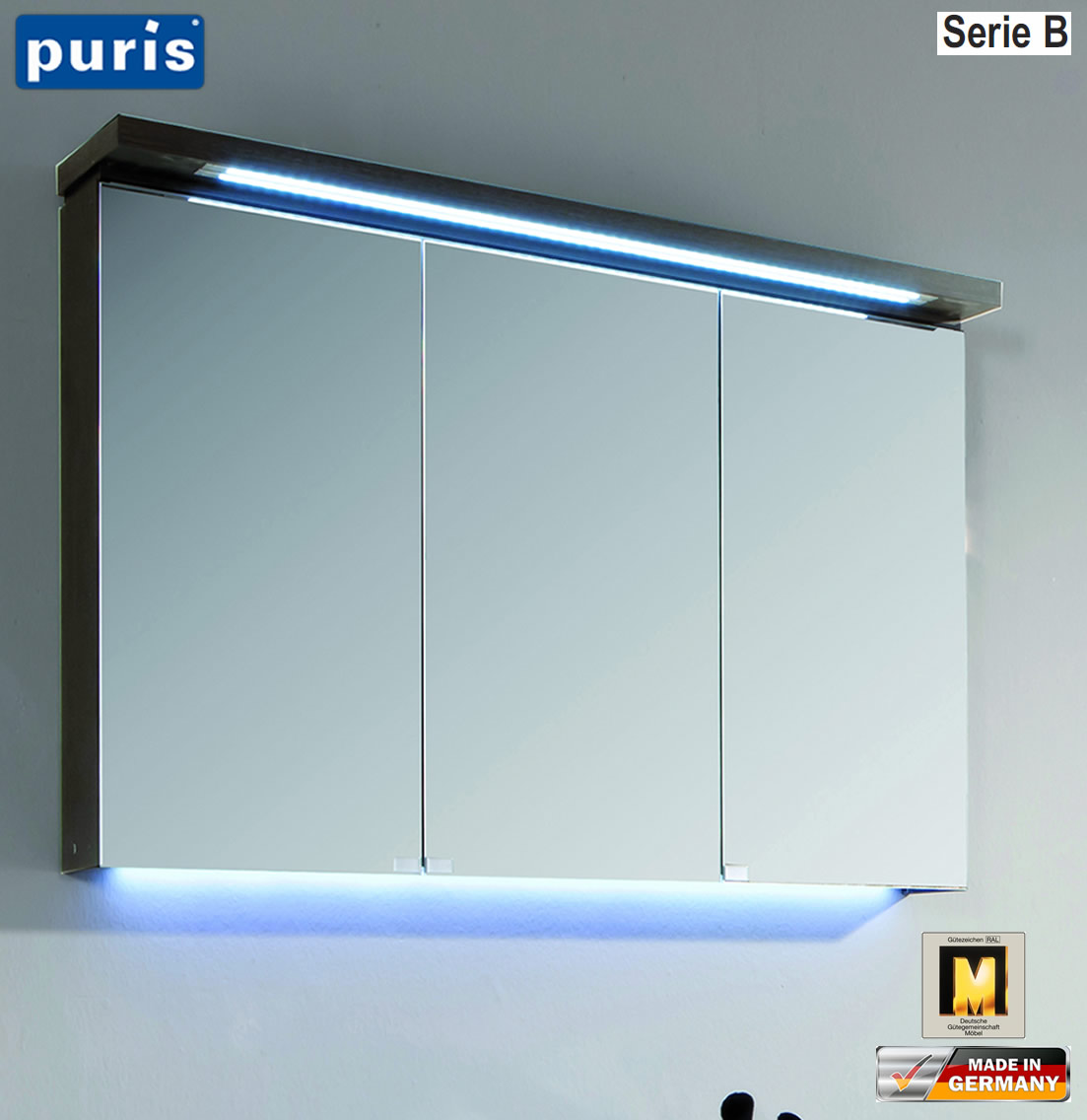 puris cool line spiegelschrank 90 cm mit led gesims. Black Bedroom Furniture Sets. Home Design Ideas