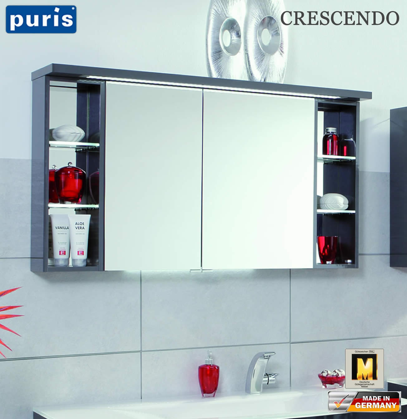 puris crescendo led spiegelschrank 120 cm s2a431226l impuls home. Black Bedroom Furniture Sets. Home Design Ideas