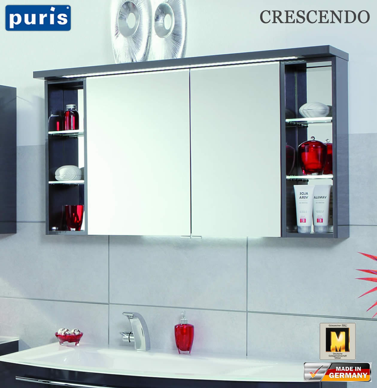 puris crescendo led spiegelschrank 120 cm s2a431226r. Black Bedroom Furniture Sets. Home Design Ideas
