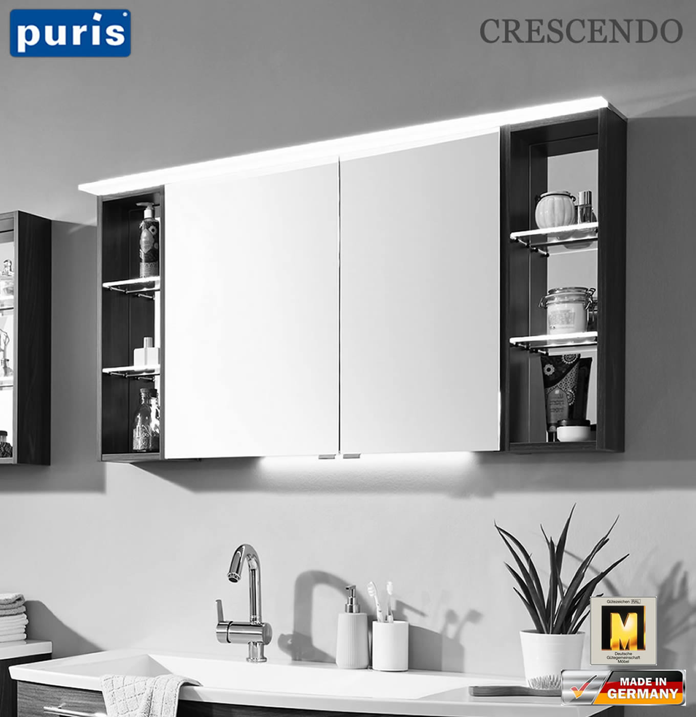 puris crescendo spiegelschrank 120 cm mit led. Black Bedroom Furniture Sets. Home Design Ideas