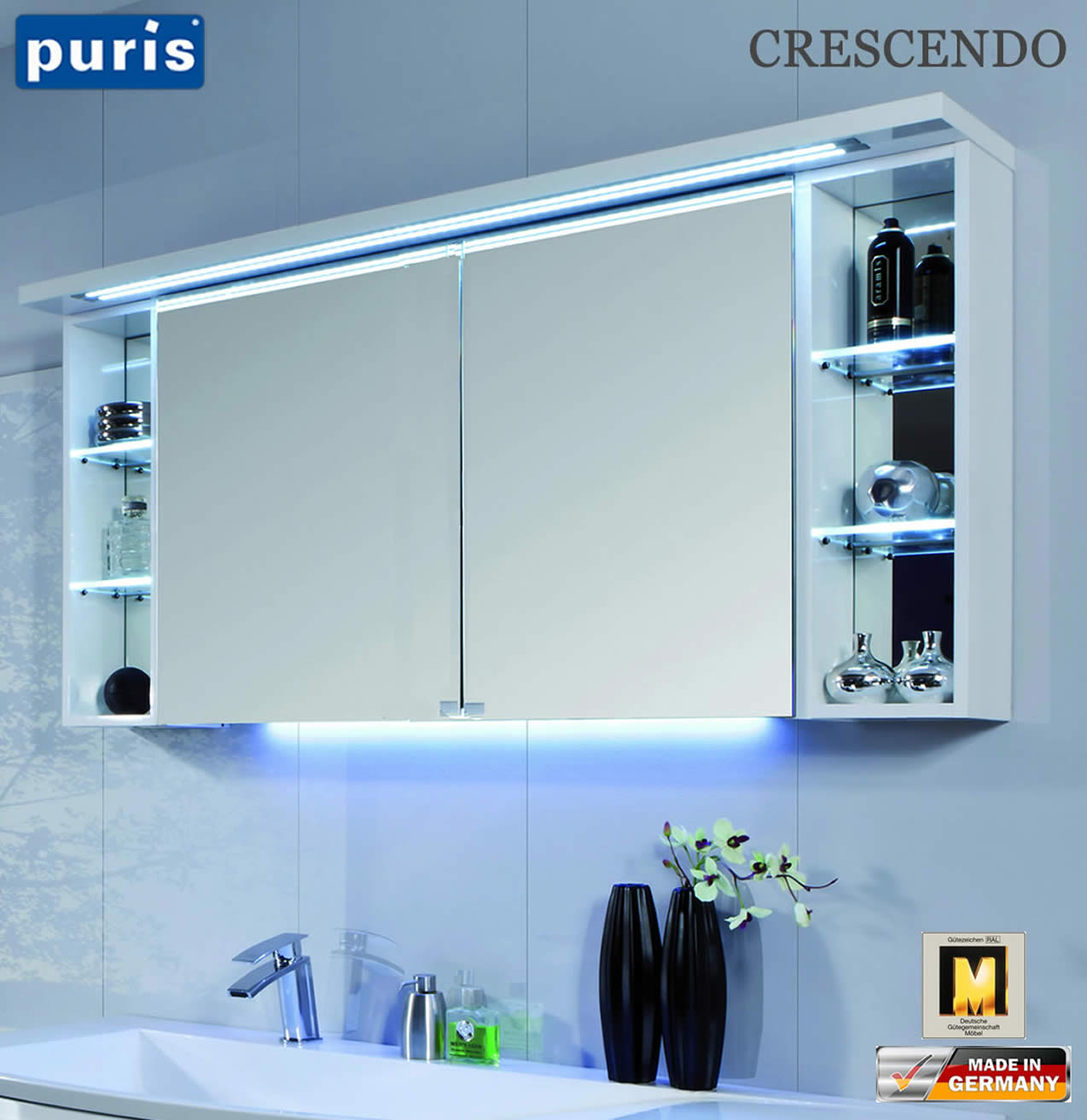 puris crescendo led spiegelschrank 140 cm s2a431426r impuls home. Black Bedroom Furniture Sets. Home Design Ideas